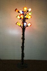 French Reproduction Art Deco Wrought Iron Floor Lamp And Blown Glass Shades 1