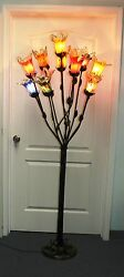 Hand Made Wrought Iron Floor Lamp And 11 Multi-color Glass Shades 7