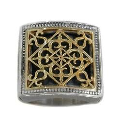 Gerochristo 2233 Solid Gold And Sterling Silver Medieval Byzantine Cocktail Ring