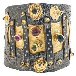 Polemis 320 Black And Gold Silver Large Cuff Bracelet With Gemstones
