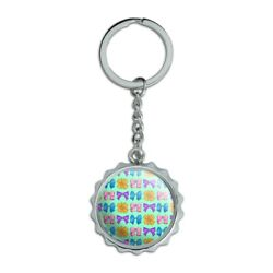 Cute Girly Ribbon Bows Set Chrome Plated Metal Pop Cap Bottle Opener Keychain