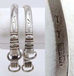 Set Of 2 Antique Chinese Silver Fist Andndash Power Andndash Bangle Bracelets Late Qing Marked