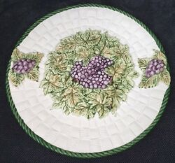 Jay Willfred Plate Platter Andrea By Sadek Portugal 3-d Bunches Of Grapes Leaves
