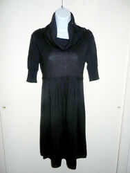 Qi 100 Cashmere Black Dress Wide Cowlneck W/buttons Pleated Baby-doll Sweater L