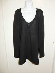 Aqua 100 Cashmere Black Scoop Neck Long Sleeves Baby-doll Cardigan Sweater L