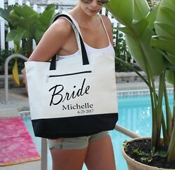 Bride Tote Bag Personalized Bag personalized Heavy tote bag zippered $22.99