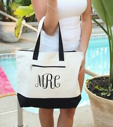 Monogram Bag Personalized Bag personalized Heavy tote bag zippered $22.99
