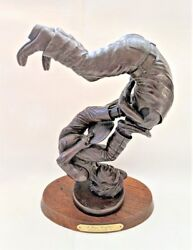 A Hopi Conflict Wood Carving Cast In Bronze By Lowell Talashoma Sr.