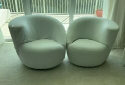 Vladimir Kagan For Directional Pair Nautilus Chairs White Denim With Lose Cover