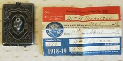 Antique Sterling Silver Stamp Holderelks W/ Membership Card 1918 Free Ship