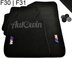 Floor Mats For Bmw 3 Series E30 F31 Black With /// M Emblem Lhd Side Clips