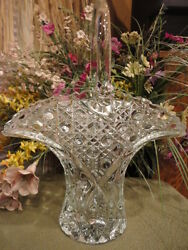 L E Smith Glass Co Brides Basket Daisy And Button Crystal Clear 13 In T Vintage