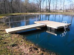 Pond Special 8and039 X 12and039 Dock/ramp/rail/ladder With Permafloat Floats