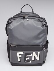 Fendi Grey/Black Nylon Fabric Shadow Logo Backpack Bag 7VZ035