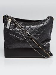 Black Quilted Aged Calfskin Leather Large Gabrielle Hobo Bag
