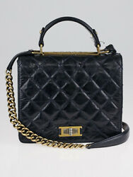 Blue Glazed Quilted Calfskin Leather Rita Flap Bag
