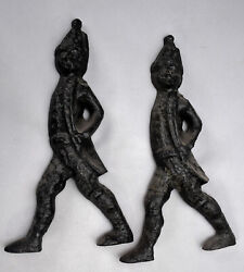 Pair Old Cast Iron Andiron Figures Hessian Redcoats Painted Black No Billet Bars