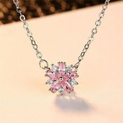925 Silver Snowflake Pink Sapphire Pendant Chocker Necklace Party Birthday Gift