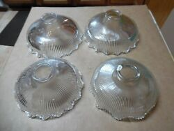 3 Antique Marked Wellington Shade Ruffle Light Fixture 2 1/4 Fitter 1 Unmarked