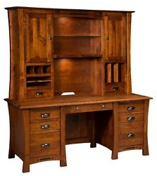 Amish Executive Wall Desk Hutch Transitional Solid Wood 68 File Drawers