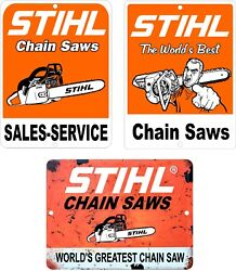 Lot Of 3 Stihl Chain Saw Vintage Looking Reproduction Aluminum Signs 9 X 12