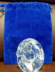 Steuben Glass Dragon Hand Cooler Signed Crystal Paperweight W/ Bag Figurine