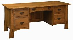 Amish Arts And Crafts Mission Writing File Desk 74w Solid Wood Hanging Files