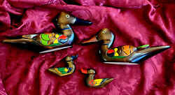 Vintage- Set Of 4 -solid Wood Ducks -hand Carved And Painted-11-1/2andrdquo-4andrdquo