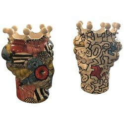 Two Pop Art Inspired Hand-painted Clay Sicilian Moroand039s Head Vases
