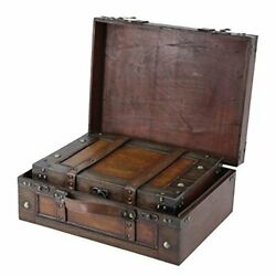2 Set Steamer Trunk Suitcase Stripes Old Fashioned Luggage Leather Antique