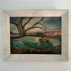 Vintage Painting Of A Boat At Lowtide In Coastal Marsh