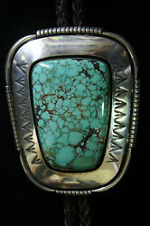 Huge Navajo Arnold Goodluck Sterling Silver Green Spiderweb Turquoise Bolo