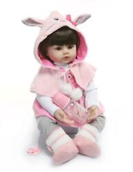 24and039and039 Reborn Toddler Doll Baby Vinyl Realistic Girl Gift Toys Pink Rabbit Outfit