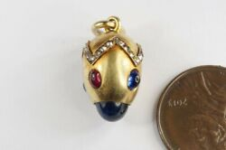 ANTIQUE RUSSIAN 14K GOLD SAPPHIRE RUBY DIAMOND FABERGE ? EASTER EGG CHARM c1900