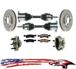 Front Axles Rotors Hubs Rotors Brake Pads For Expedition For Navigator 03-06 4x4