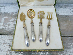 Old French Sterling Silver Vermeil 4 Pieces Hors Dand039oeuvres Desert Serving Set