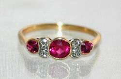 Exquisite Art Deco C1920 18ct Gold Synthetic Ruby And Diamond Ring Uk T Us 9 3./4