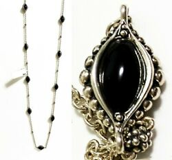 795 Lagos 34 Silver Contessa 9 Black Onyx Doublet Stations Necklace Women Nwt