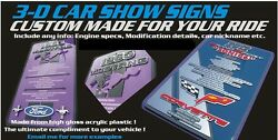 3d Car Show Sign Board Made To Order Ford Dodge Mustang Chevy Motor Coffee Resto