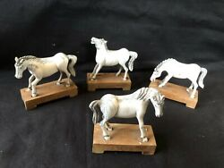 Set Of 4 Antique / Vintage Toy Horses On Wooden Stand