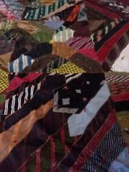 Quilts Hand Made From Silk Ties - Beautifully Done - Burgundy Fabric On Back