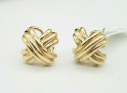 100 Authentic And Co 18k Yellow Gold Signature X Earrings. 19mm