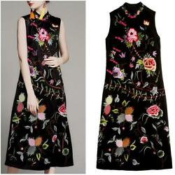 2019 Womens Vintage Chinese Style Cheongsam Ethnic Floral Embroidery Qipao Dress