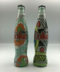 Diet Coke Collectible Glass Bottle Colorful Wrap 12 Oz Size Bundle Of Two