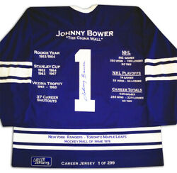 Johnny Bower Career Jersey 1 Of 299 - Signed - Toronto Maple Leafs