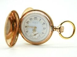 Vintage Elgin 14k Yellow Gold Automatic Hand Winding 35mm Pocket Watch