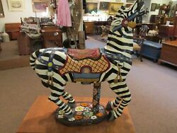 Antique Hand Carved Wooden Carousel Zebra Animal Floral Base Merry-go-round