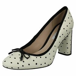 LADIES CLARKS LEATHER SLIP ON POLKA DOT HEELED OFFICE COURT SHOES IDAMARIE FAYE