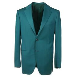 Nwt 8995 Kiton Modern-fit Teal Green Super 180s 14 Micron Wool Suit 40 R