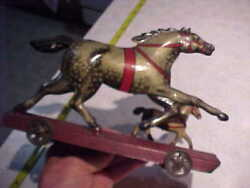 Vintage Old Large 9 Tin Dapple Horse And Colt Pull Penny Toy